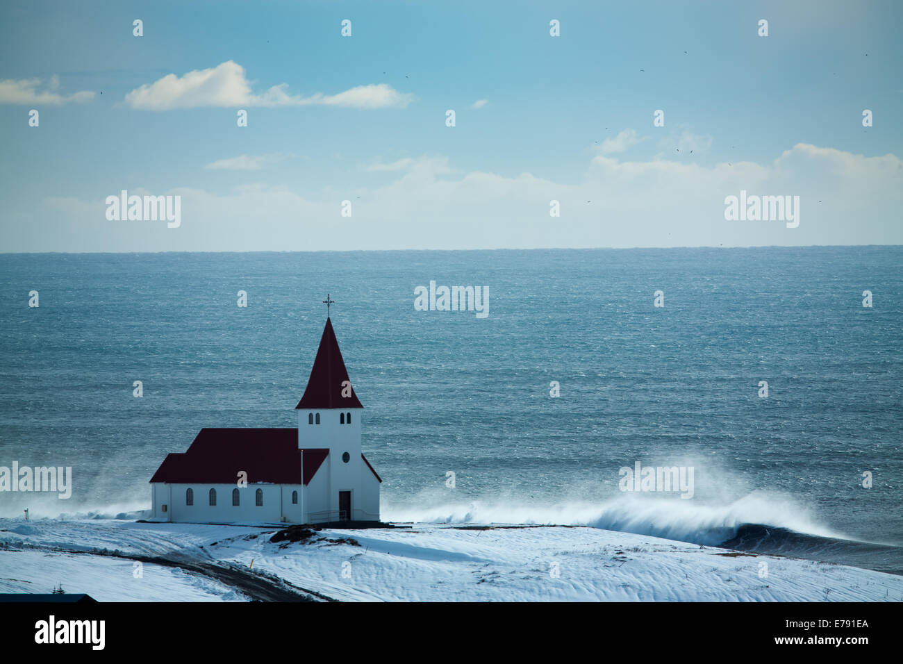 the church at Vík í Mýrdal, Southern Iceland - Stock Image