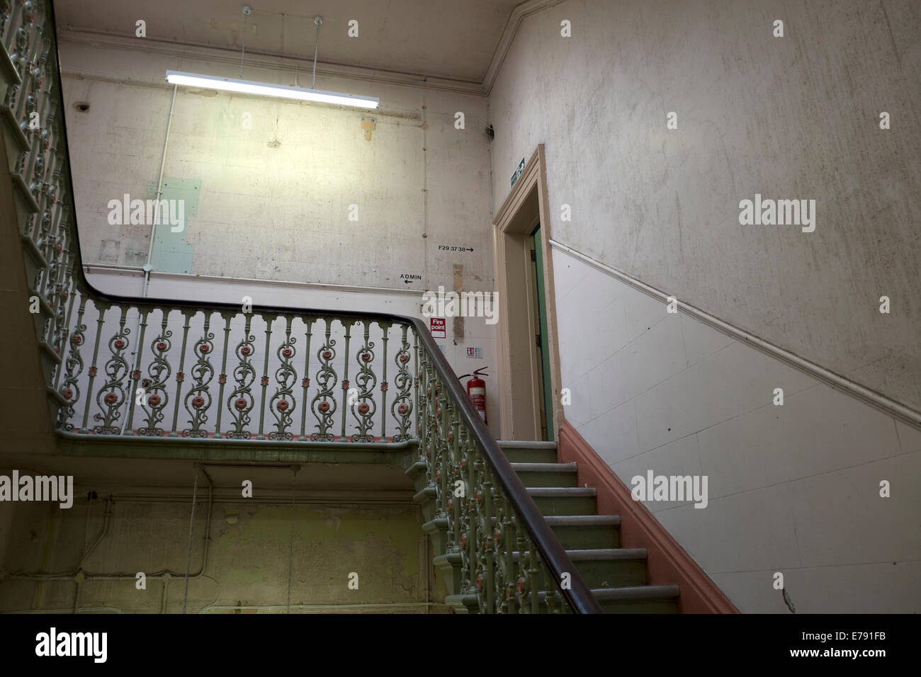 Old Cast Iron Staircase Empty Gloomy Old Building   Stock Image