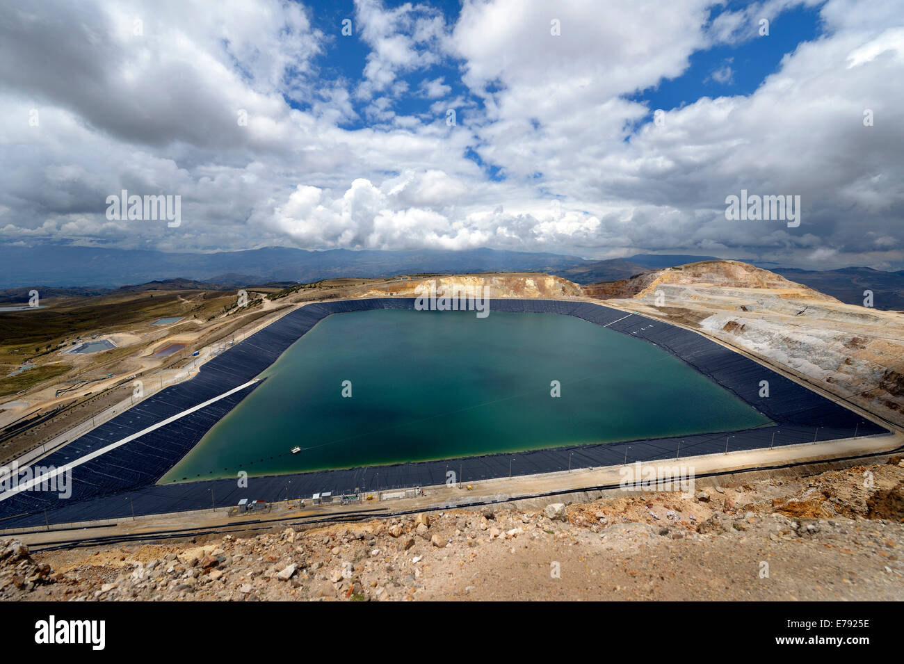 Reservoir for acidic, polluting effluents generated by the mine, Yanacocha Gold Mine, Cajamarca, Cajamarca region, - Stock Image