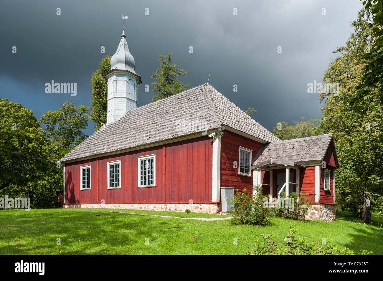 Historic wooden church, 1750, protestant church, on church hill, memorial for the Rose of Turaida, Sigulda or Segewold, - Stock Image