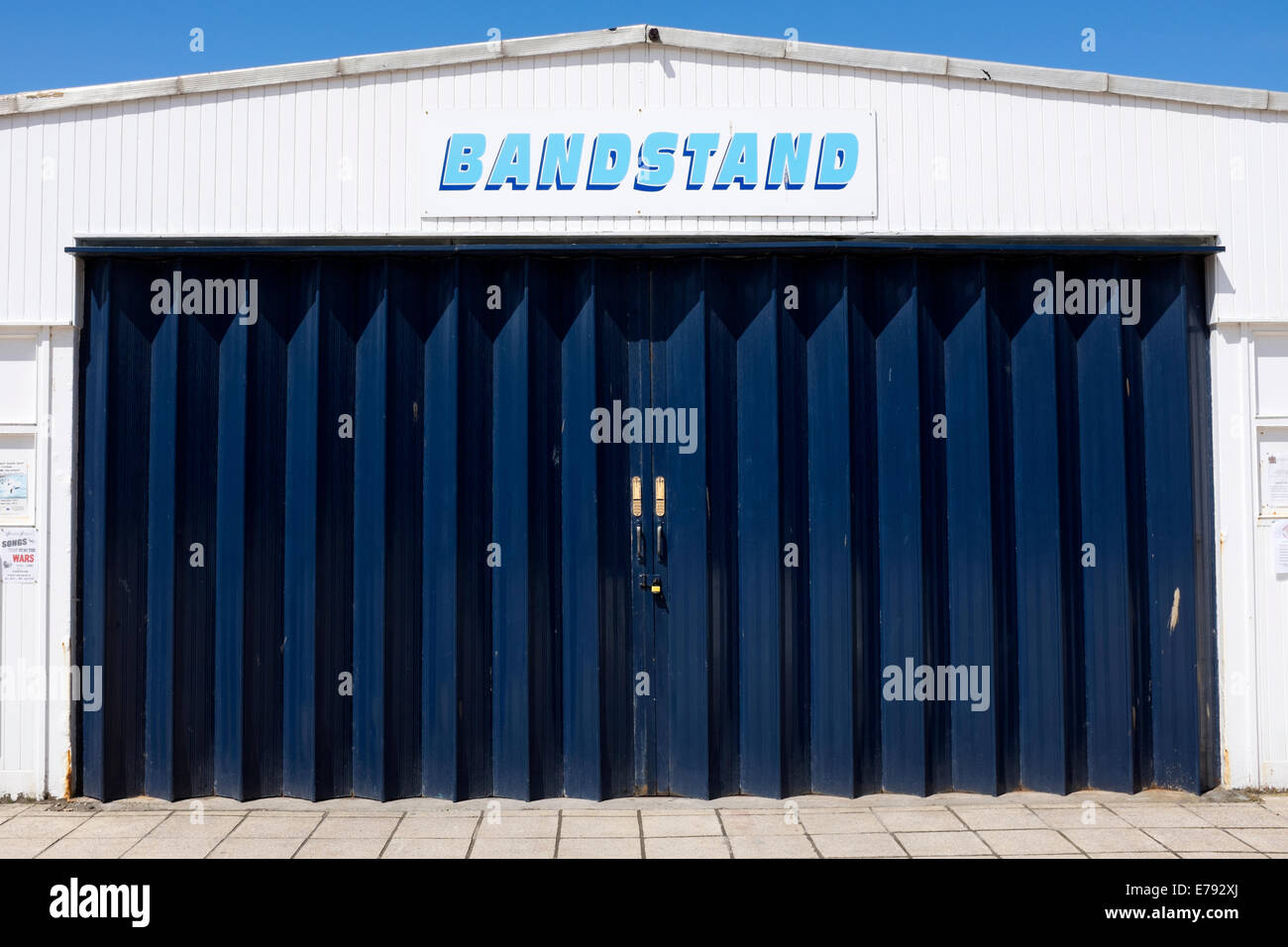 Bandstand English Seaside Beach Blue Doors Closed - Stock Image