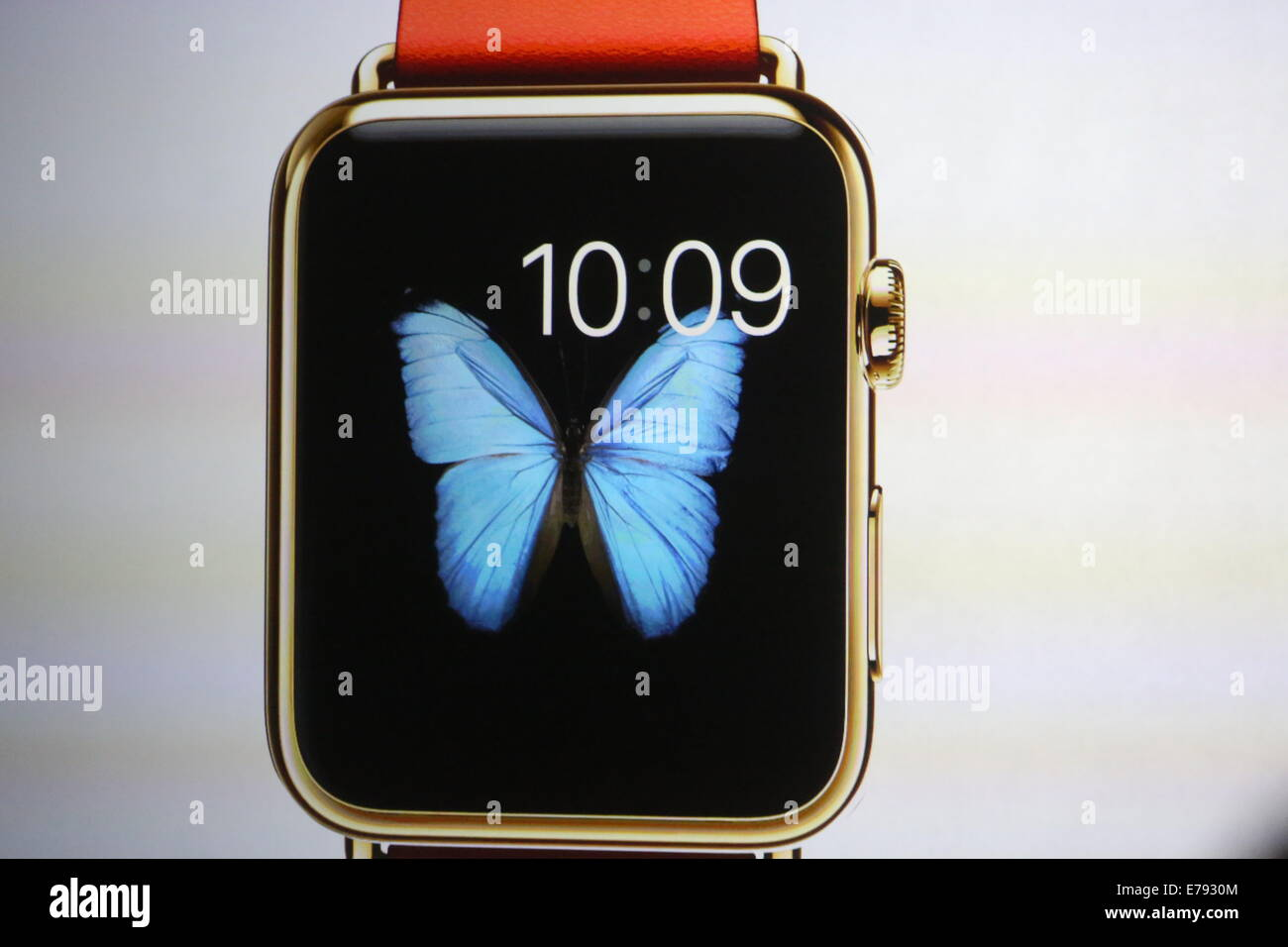 Cupertino, California, USA. 9th September, 2014. Apple's computer watch with a square-shaped display and rounded Stock Photo