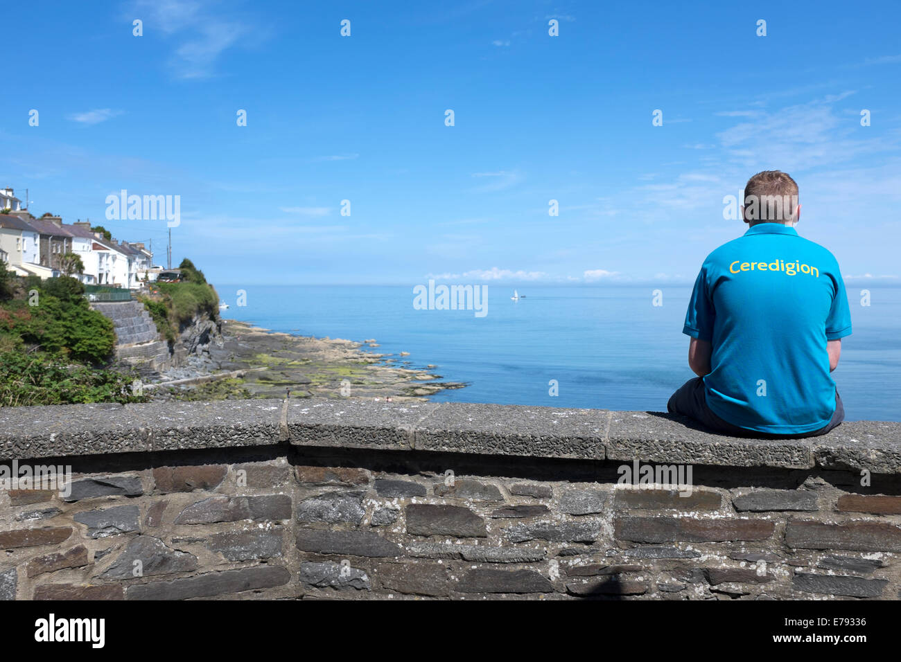 Ceredigion Looking Out To Sea New Quay Wales - Stock Image