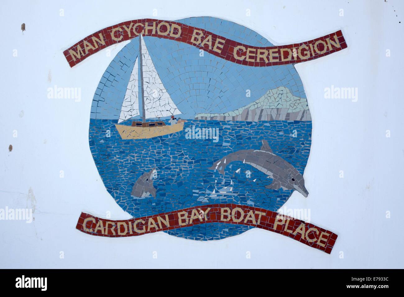 Cardigan Bay Wales UK Boat Place Mosaic Seaside - Stock Image