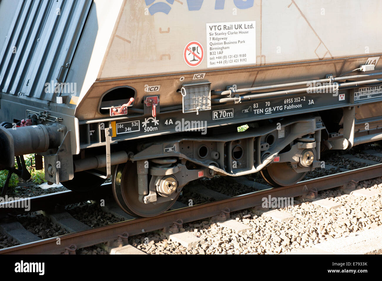 Freight Train Wheels Brakes Bogie Undercarriage - Stock Image