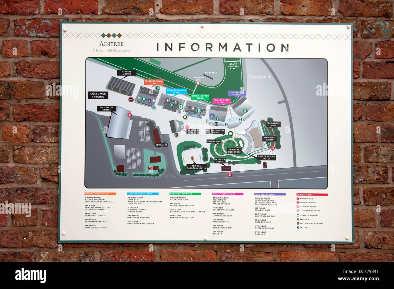 Aintree Racecourse Liverpool Plan Layout Map Info Stock Photo