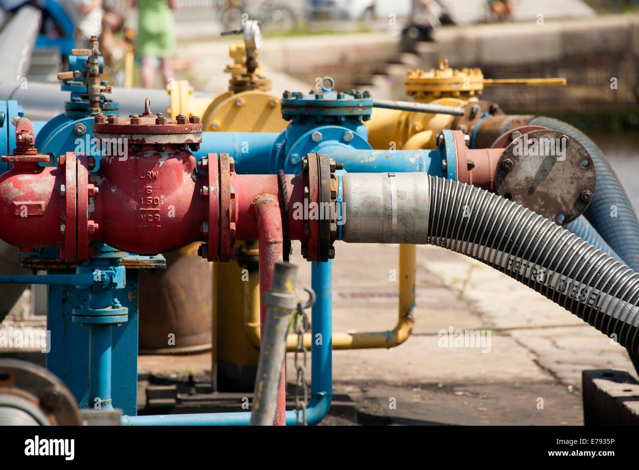 Ship Refueling Fuel Pipeline Fill Up Engine Valve - Stock Image