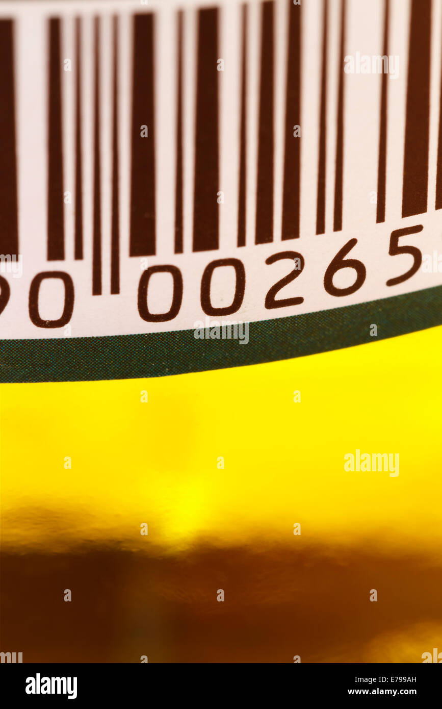 barcode on a pickle jar close up - Stock Image