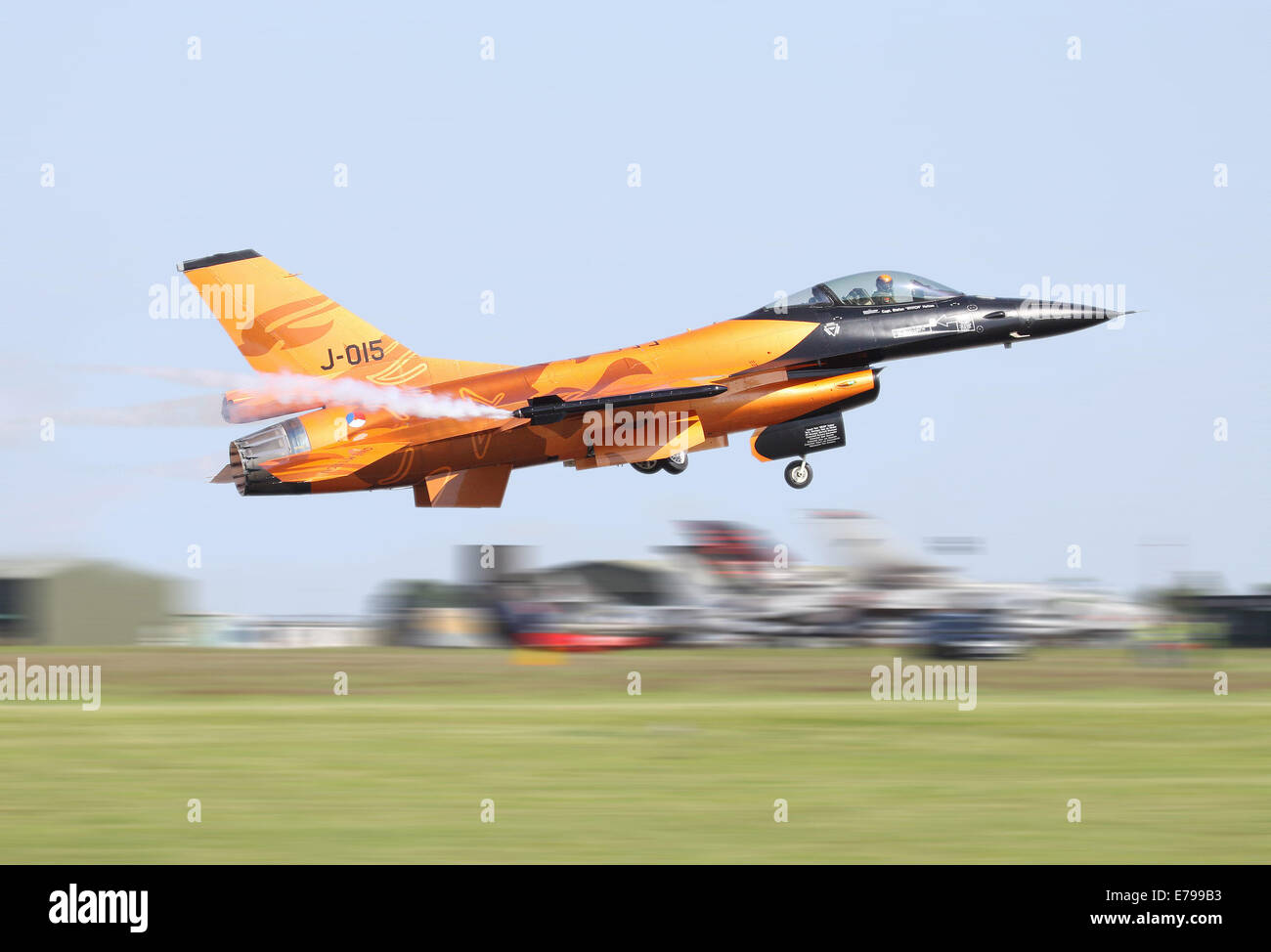 Speed shot of Dutch F16 Fighting Falcon Take-off Stock Photo