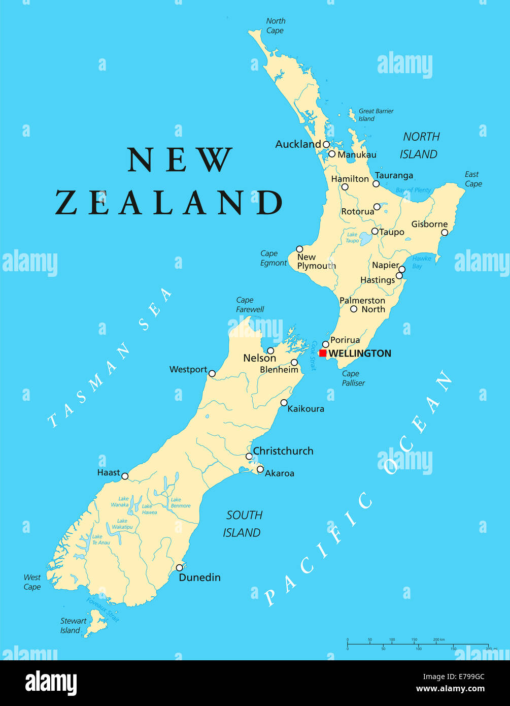 Map Wellington New Zealand.New Zealand Political Map With Capital Wellington National Borders