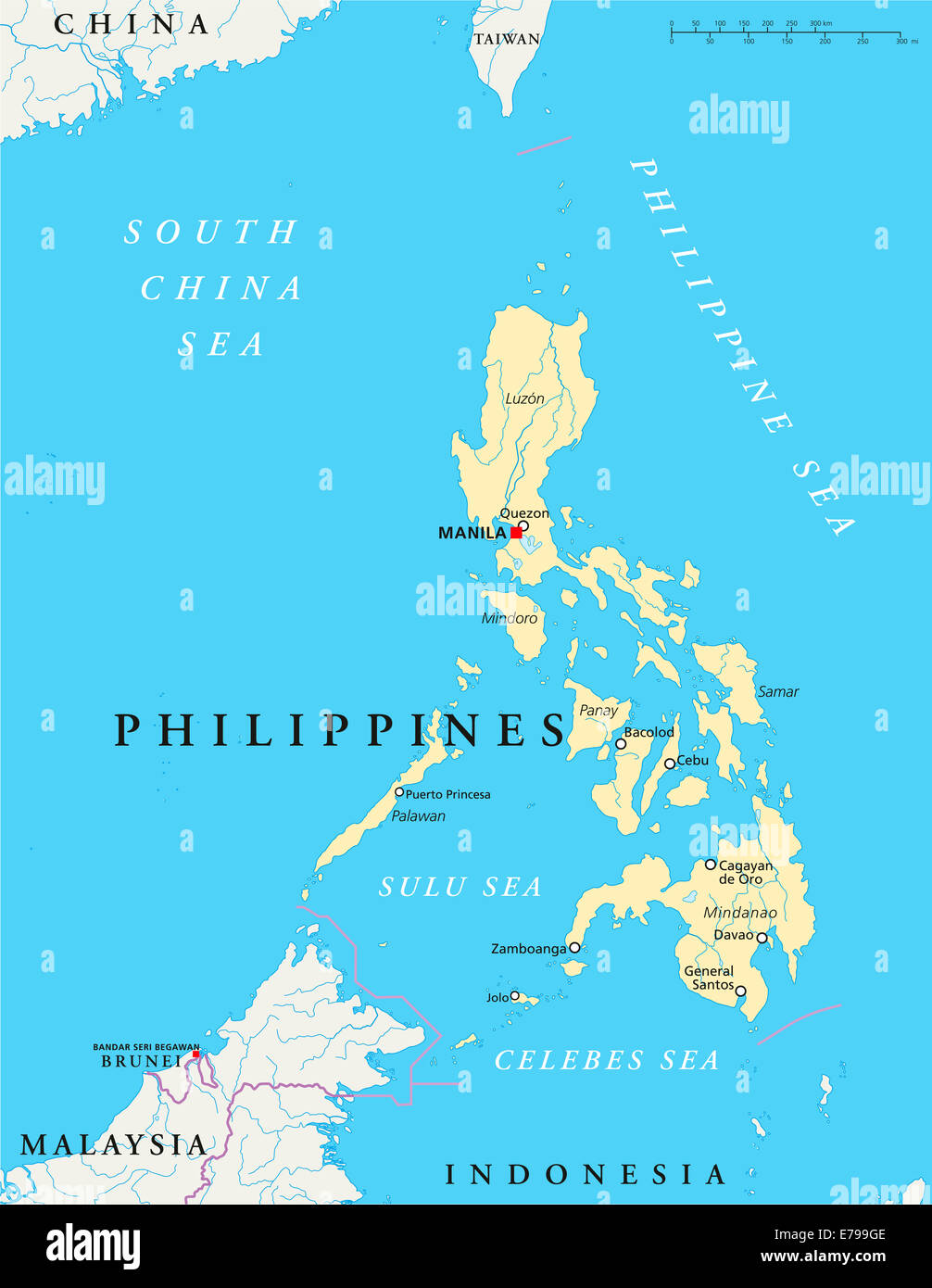 Philippines Political Map with capital Manila, national borders ...