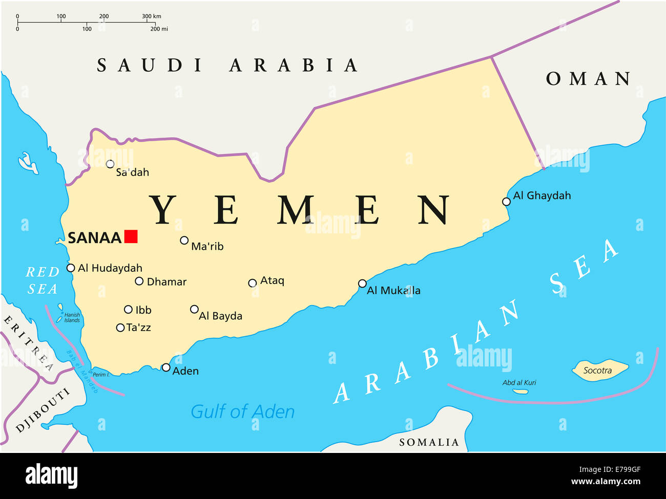 Yemen Political Map with capital Sanaa, national borders and most important cities. English labeling and scaling. - Stock Image