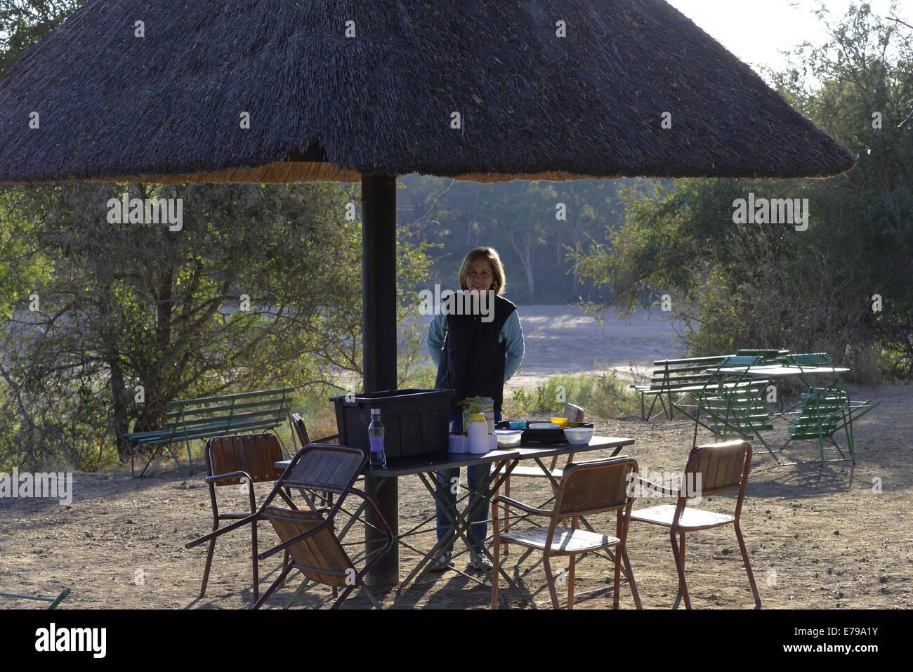 Tourist lady enjoying breakfast at Timbavati picnic spot, Kruger National Park, South Africa. - Stock Image