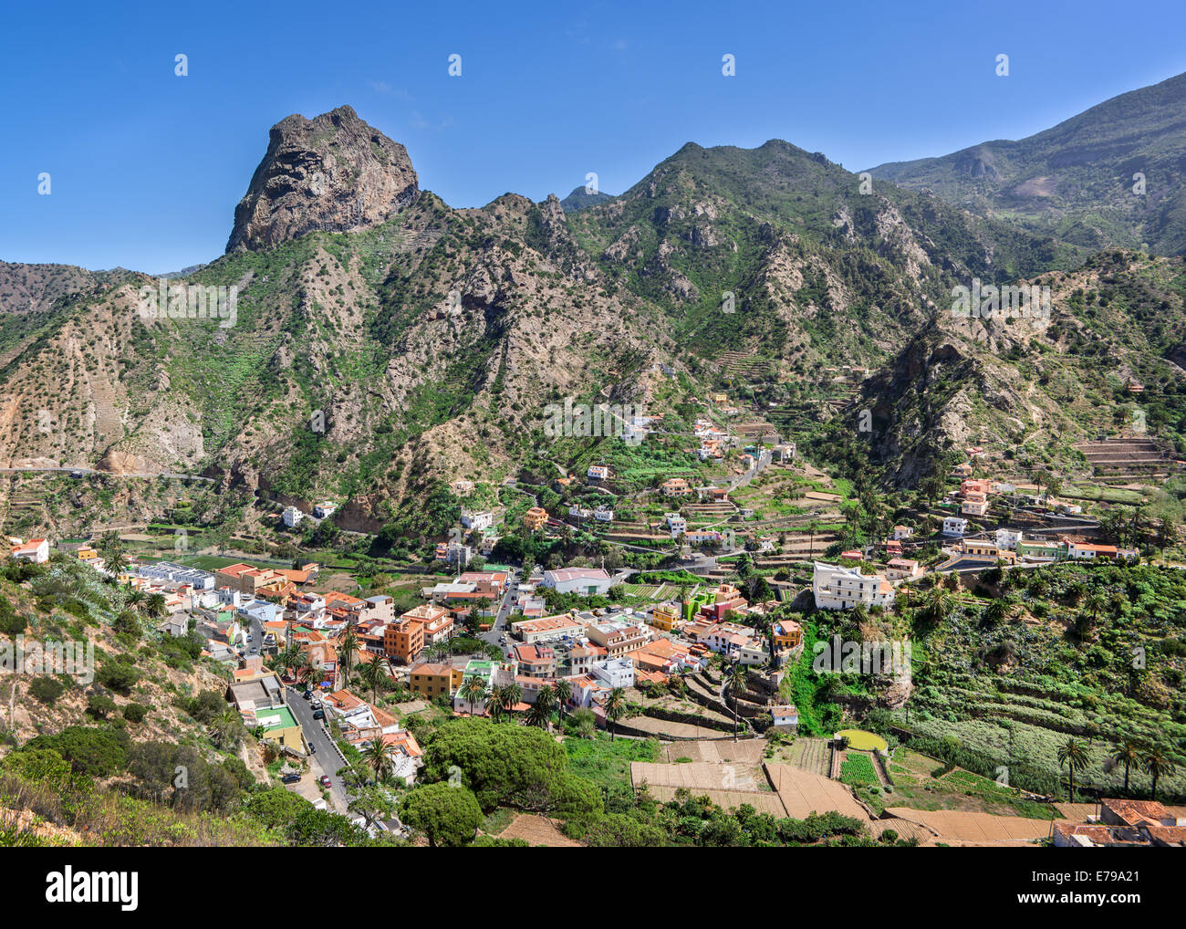 La Gomera - Vallehermoso with Roque El Cano - Stock Image