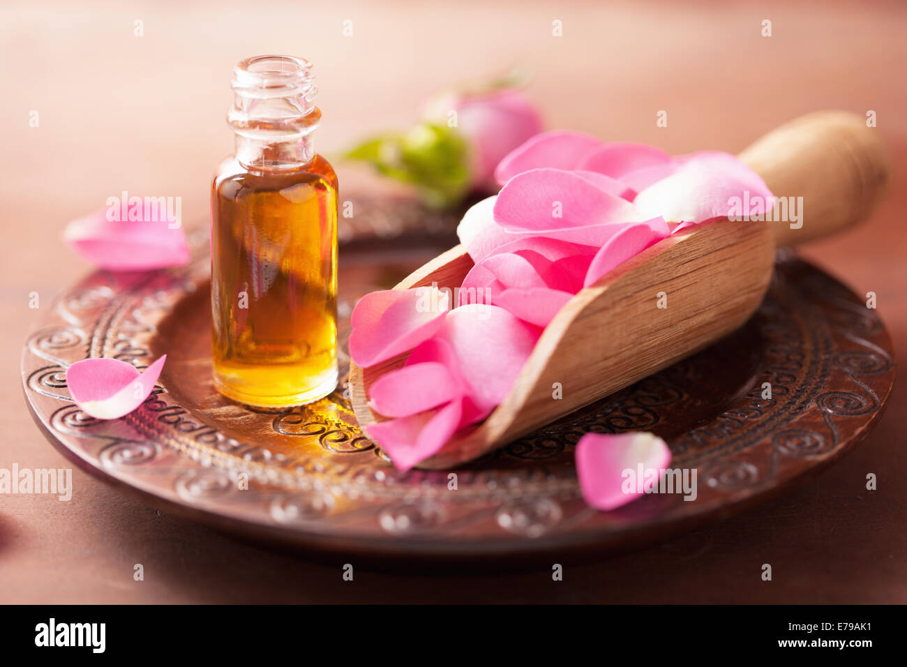 rose flower and essential oil. spa and aromatherapy - Stock Image