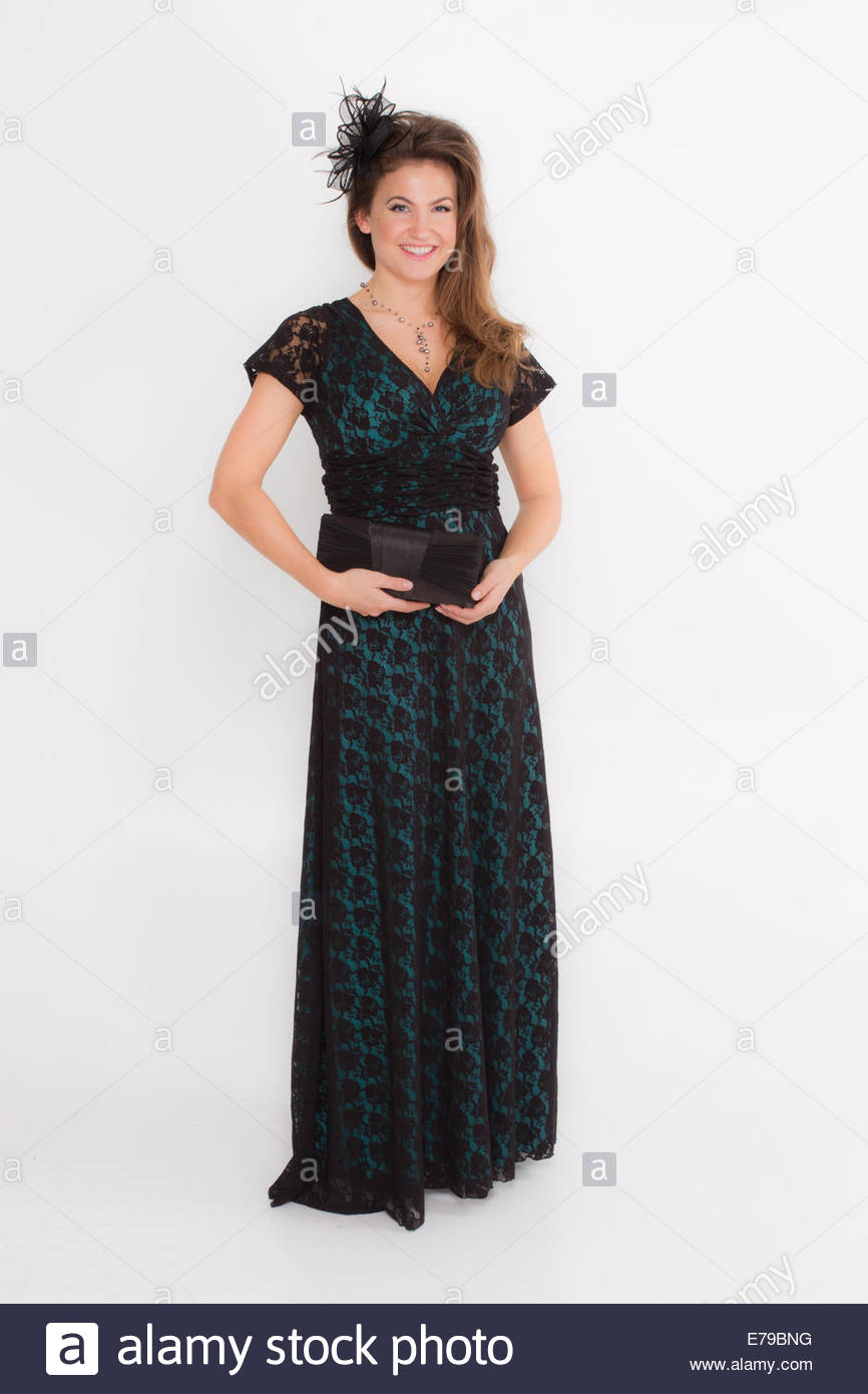 Teal And Black Evening Gown Stock Photos & Teal And Black Evening ...