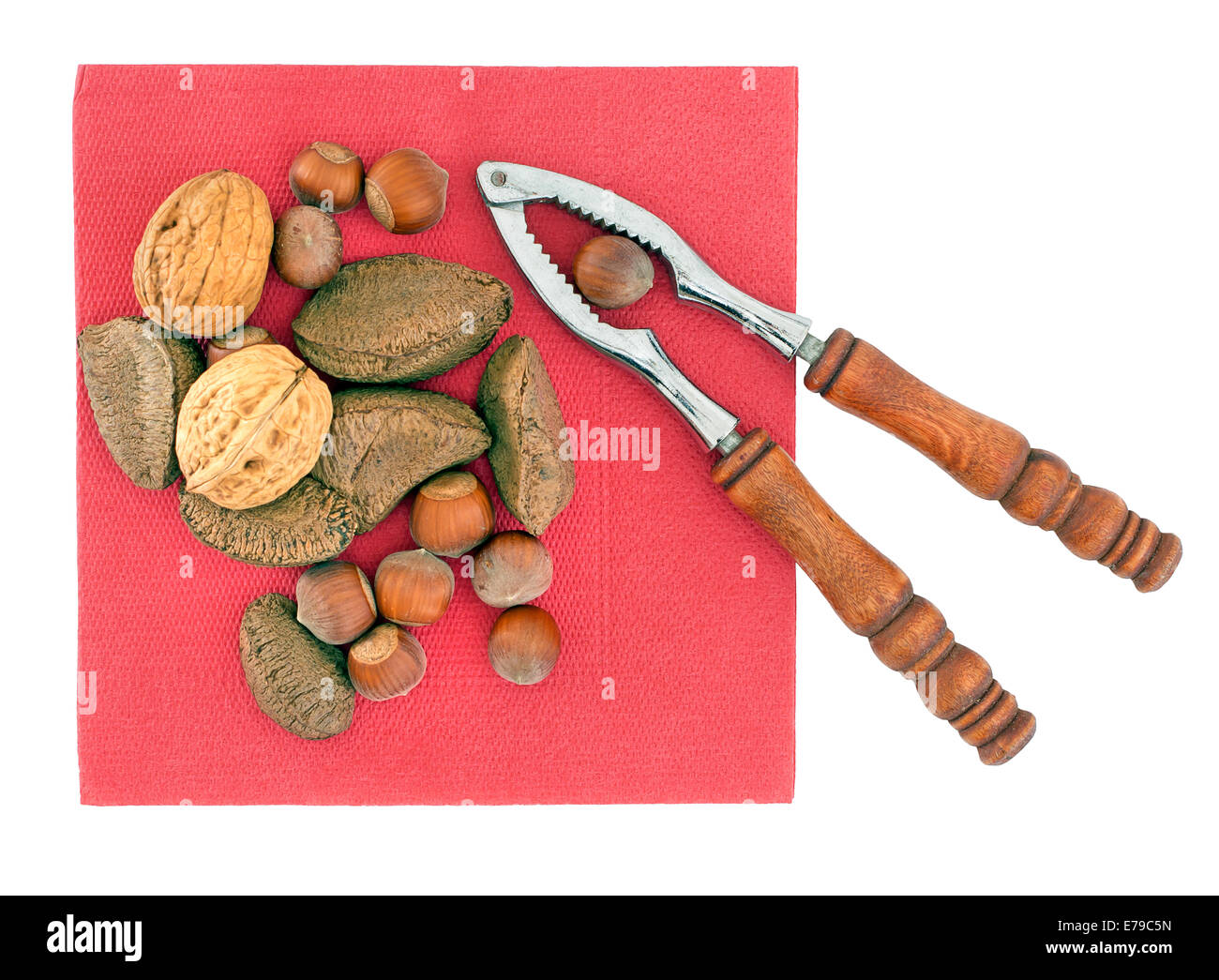 Assorted nuts. Christmas or winter treat. - Stock Image