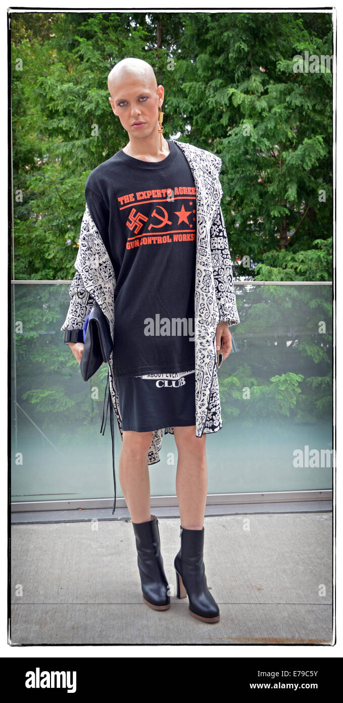Portrait of a gender ambiguous man in a skirt at Fashion Week 2014 in New York City. - Stock Image