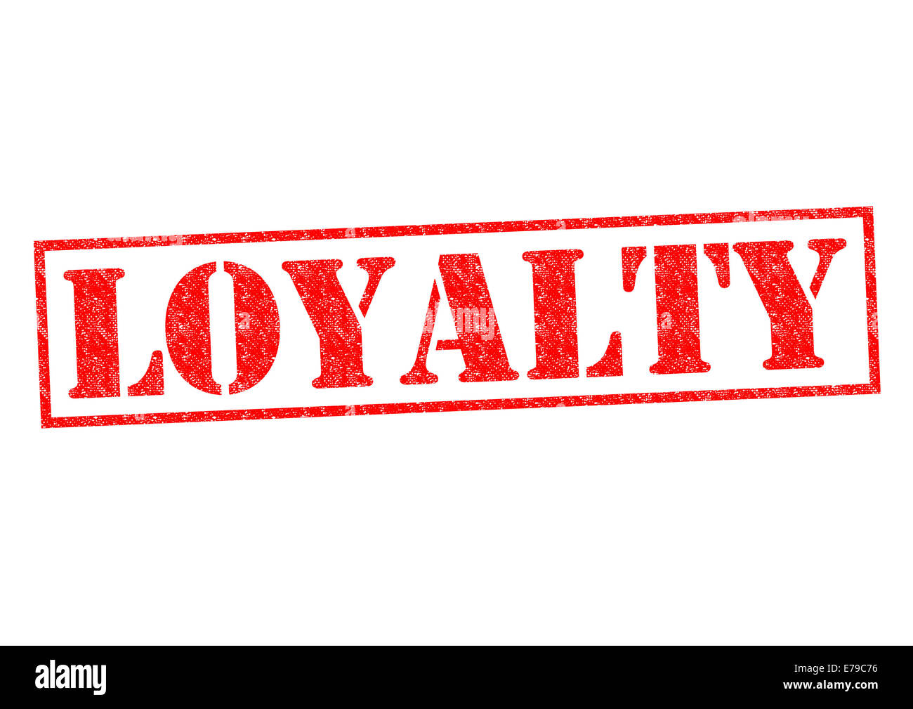 LOYALTY Red Rubber Stamp Over A White Background