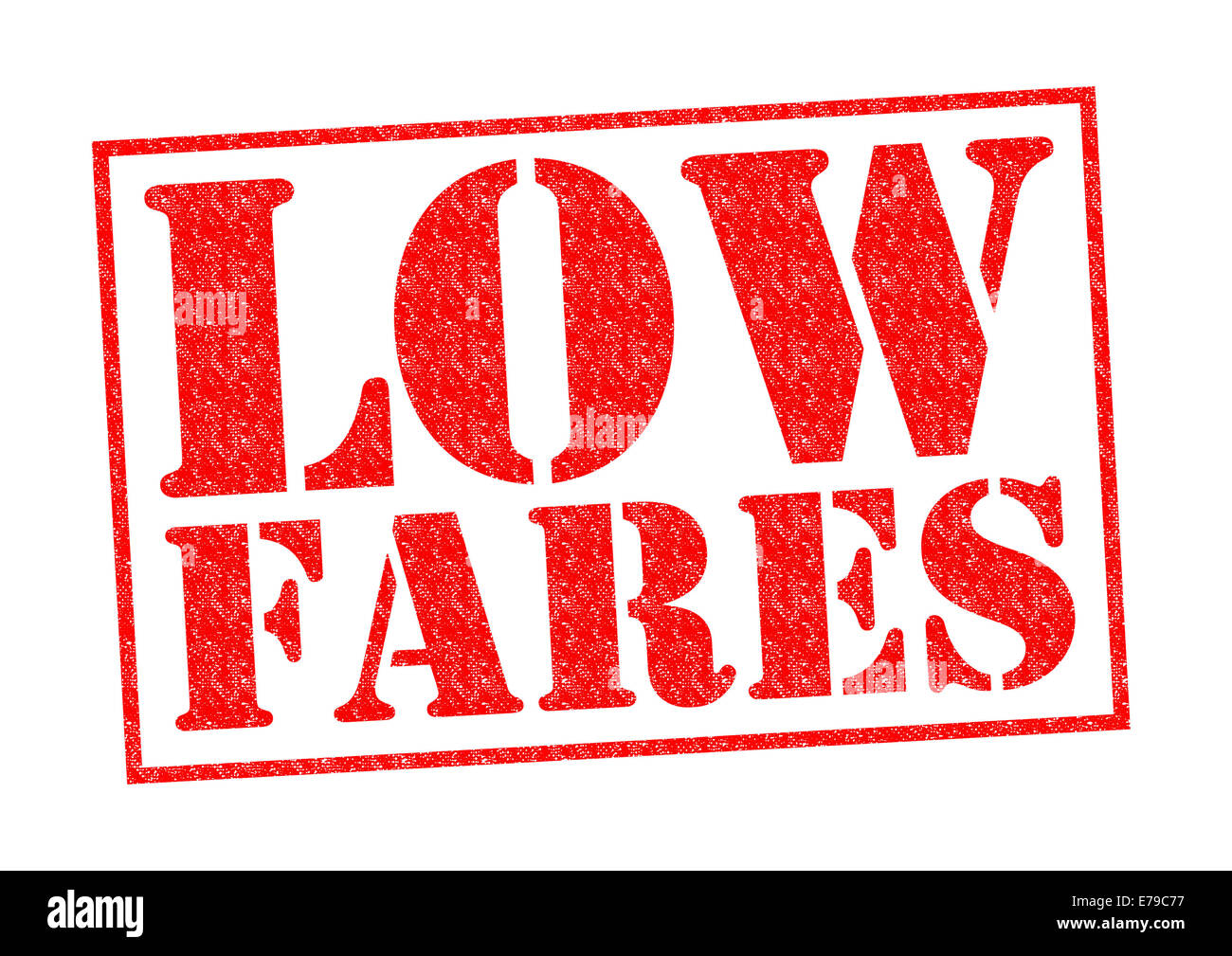 LOW FARES red Rubber Stamp over a white background. - Stock Image