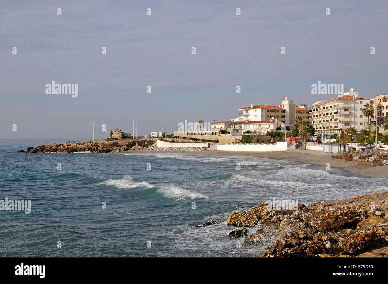Playa El Salón, beach, Nerja, Málaga Province, Costa del Sol, Andalusia, Spain - Stock Image