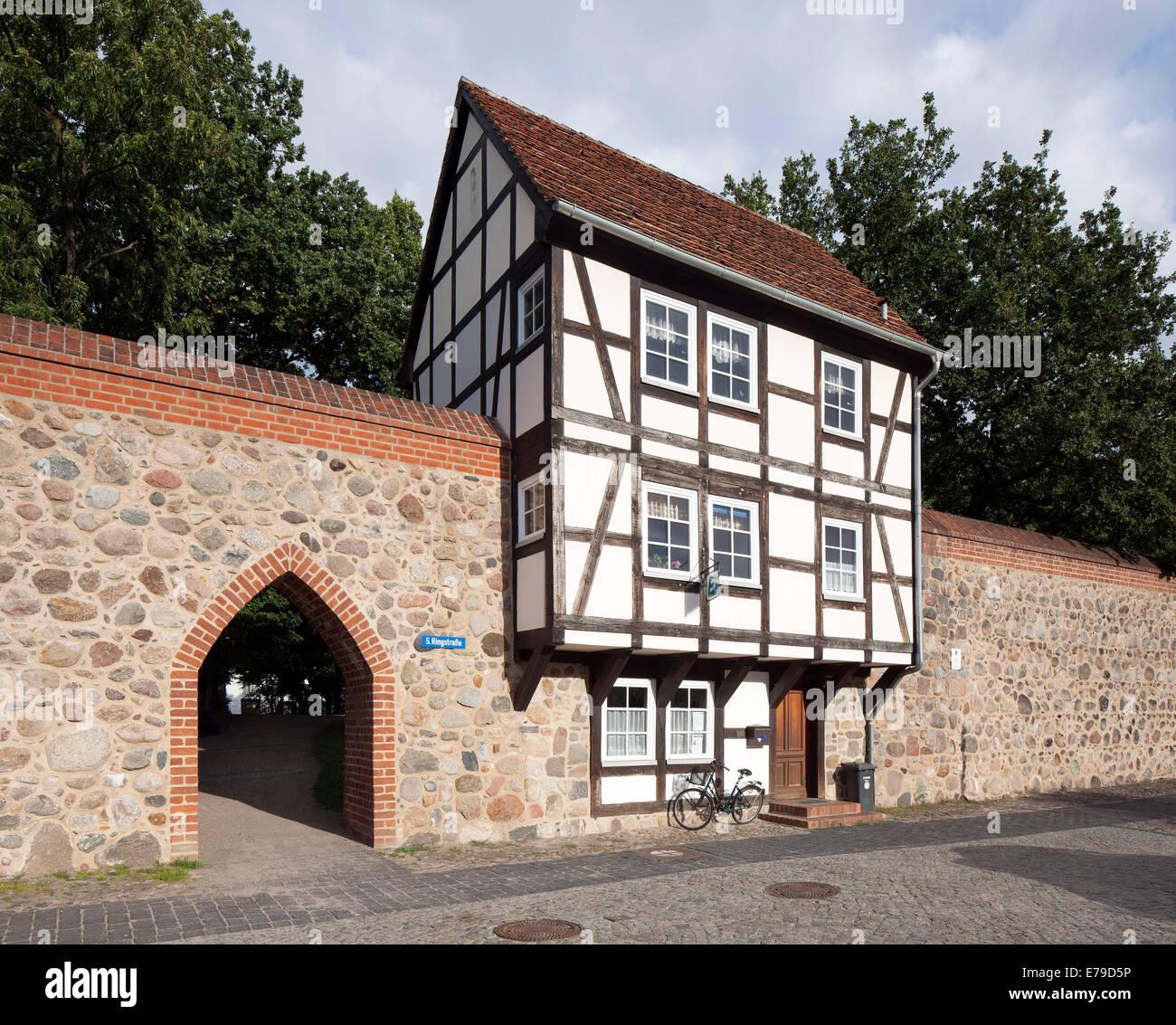 A Wiek House along the medieval city wall, Neubrandenburg, Mecklenburg-Western Pomerania, Germany - Stock Image