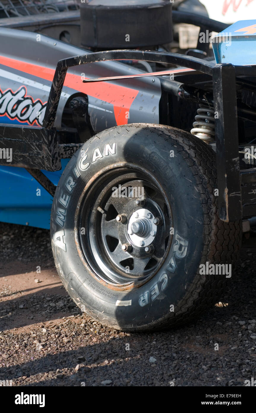 camber tire tires geometry angle toe in caster adjustment wheel alignment on a stock car front wheel wheels end - Stock Image
