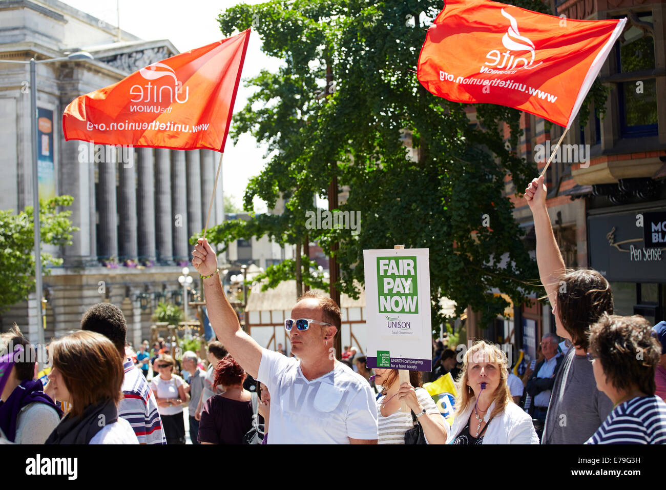 Protest rally in Old Market Square Nottingham about low pay for public sector workers - Stock Image