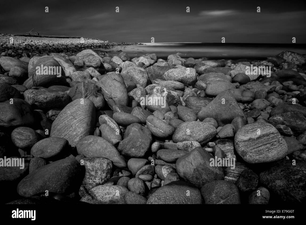 rocky seashore scottish seascape, Isle of Lewis - Stock Image