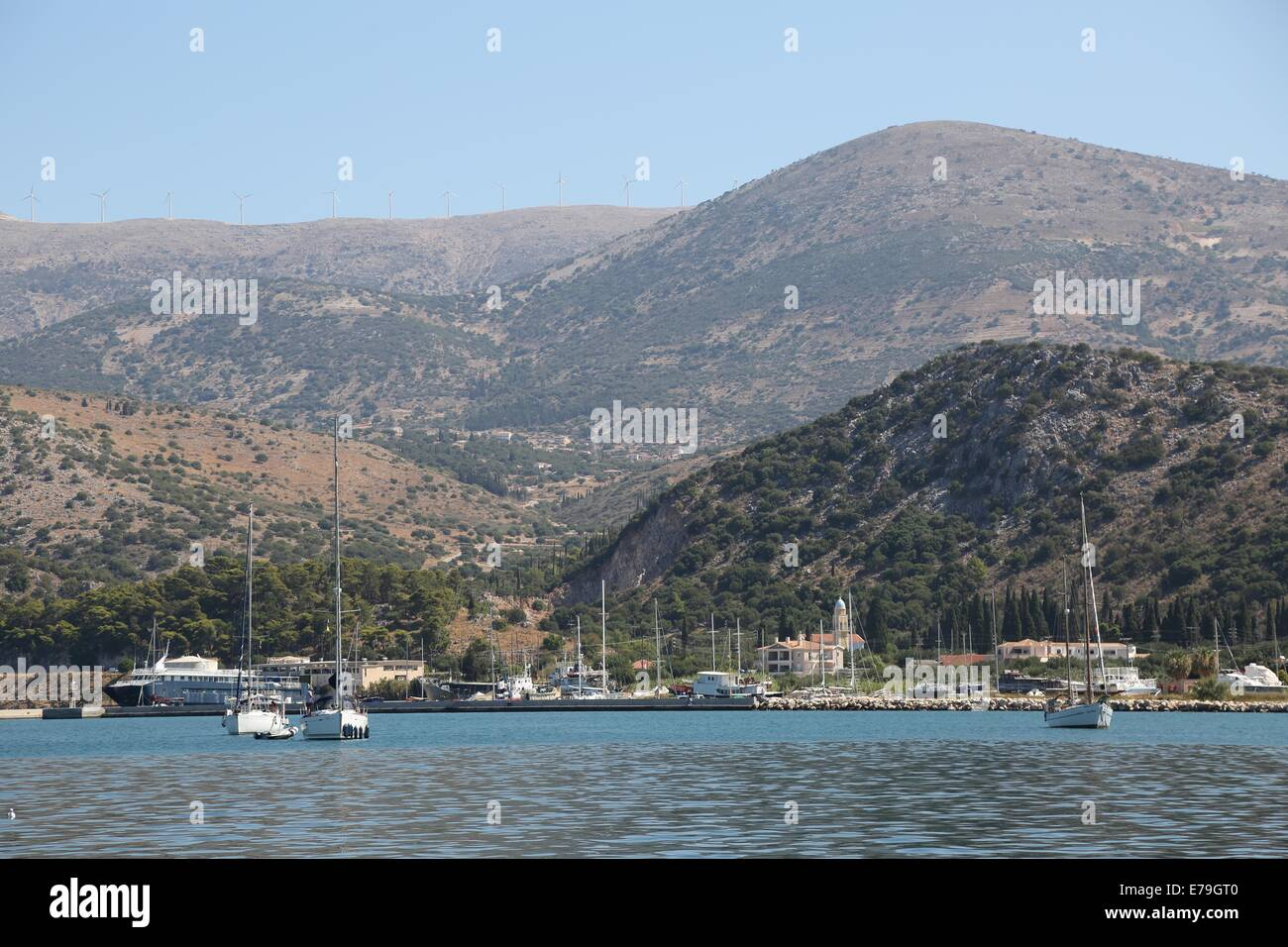 View from Harbour and Seafront Promenade, Argostoli, Kefalonia, Ionian Islands, Greece - Stock Image