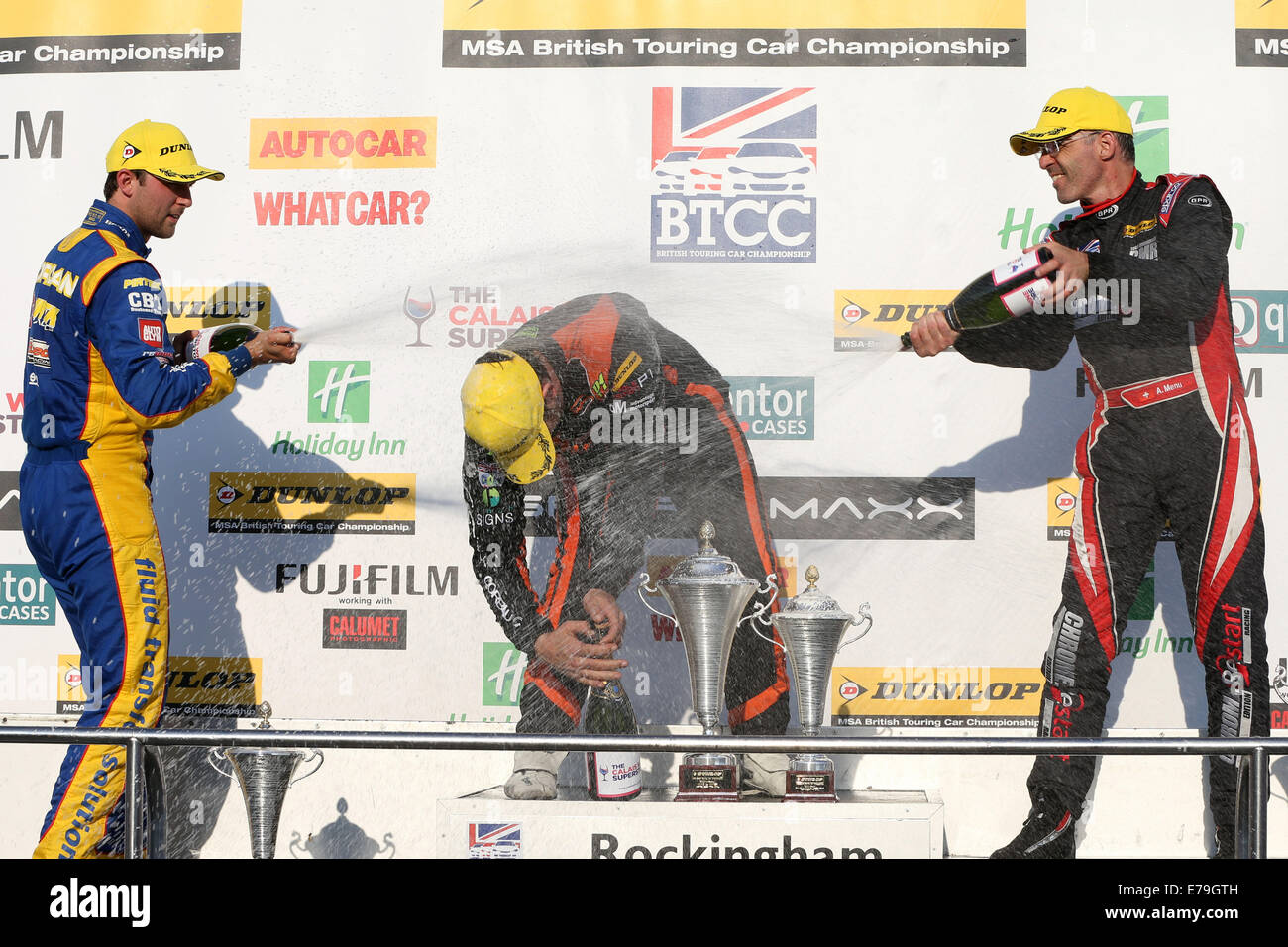 BTCC Podium, Andrew Jordan (GBR) Pirtek Racing Honda Civic , Rob Austin (GBR) Exocet Racing Audi A4 and Alain Menu - Stock Image
