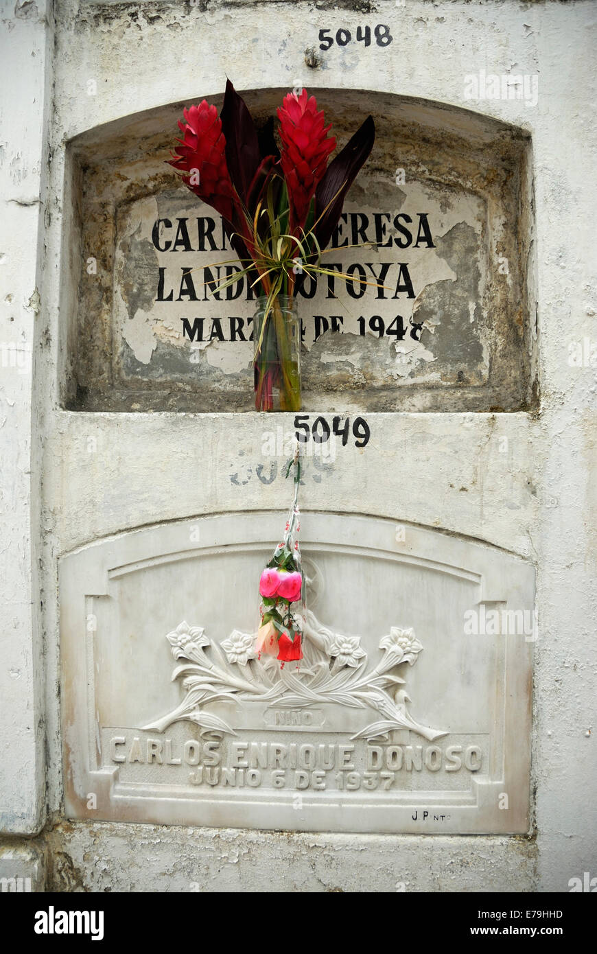 Gravestone at graveyard La Ciudad Blanca or White City cemetery, Guayaquil, Ecuador, South America - Stock Image