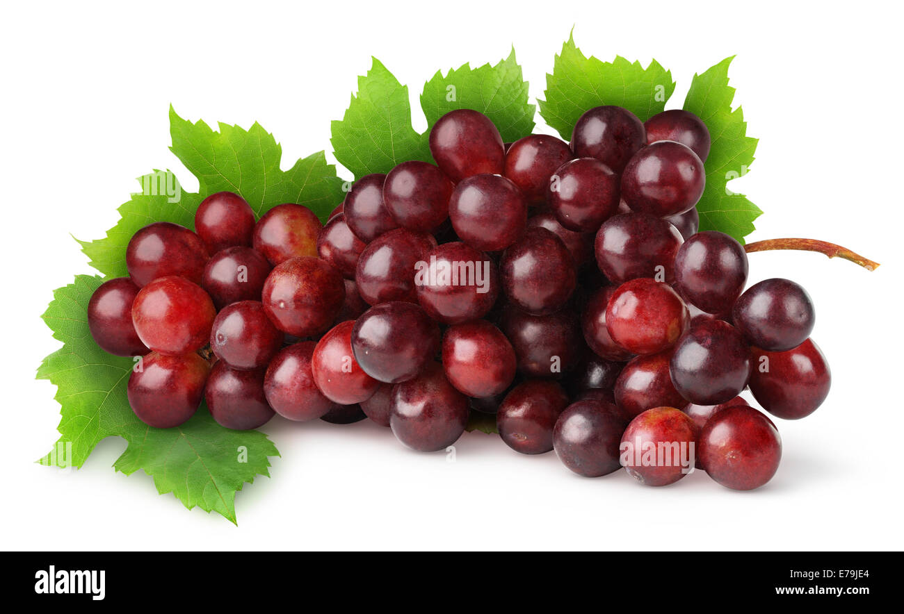 Red grape on white background - Stock Image