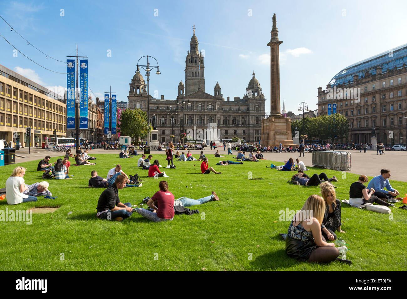 Glasgow, Scotland, UK. 10th Sept, 2014. Exceptionally high September temperatures and a long period of sunny weather - Stock Image
