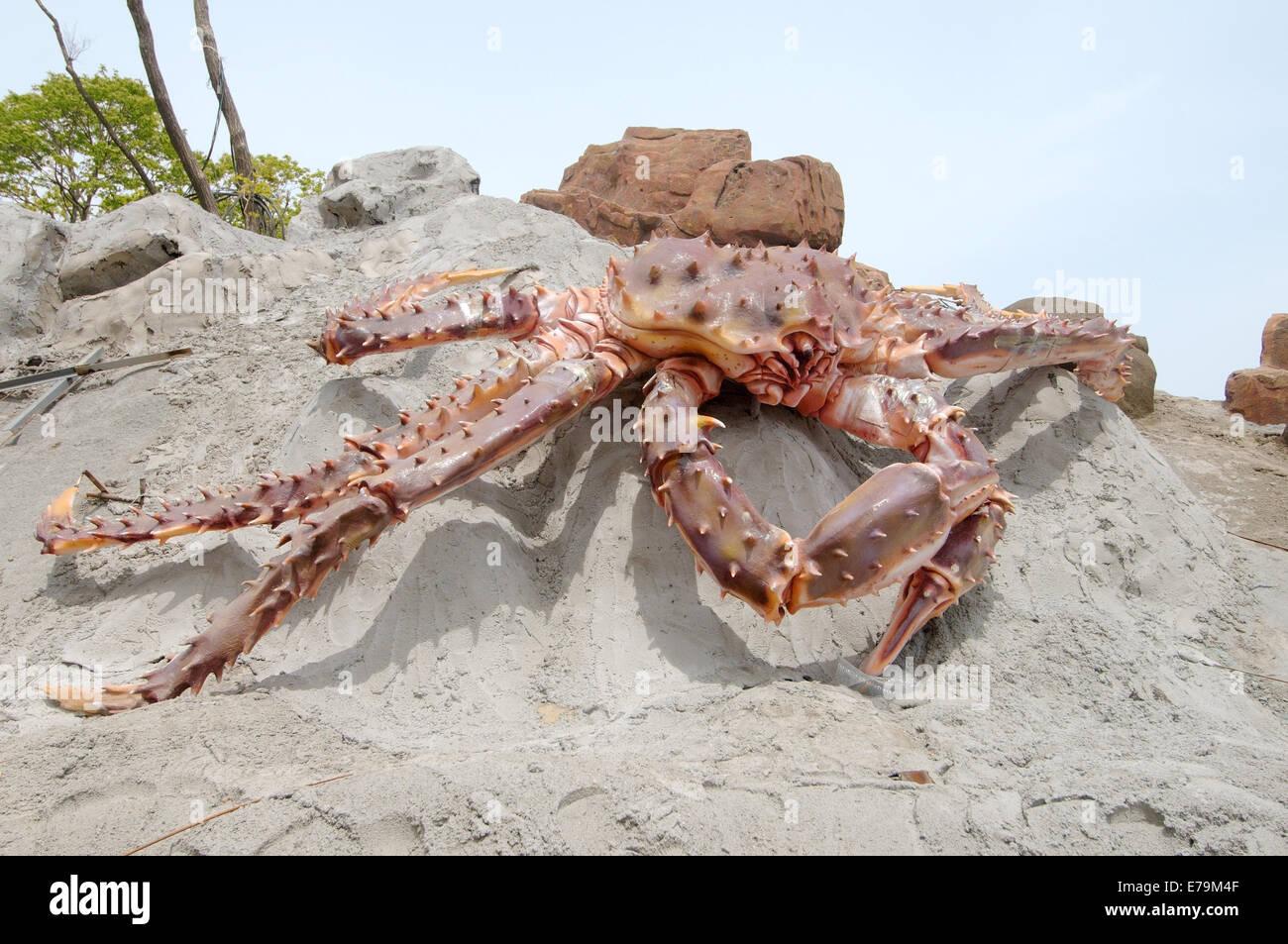 Sculpture of Red king crab (Paralithodes camtschaticus ) in the territory of the Oceanarium, Vladivostok, Russky Island Stock Photo