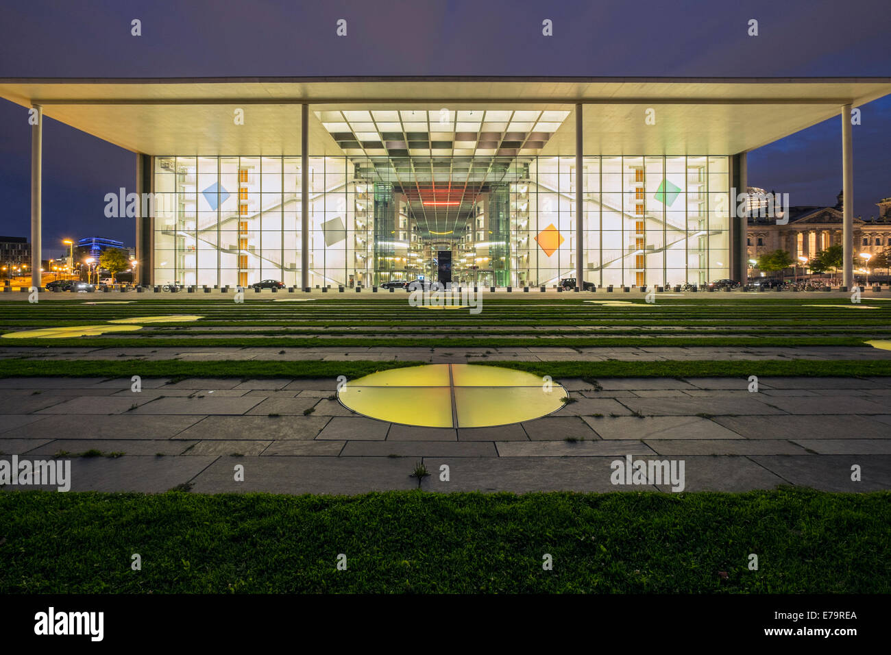 Paul Lobe Haus government office building part of Bundestag at night in Berlin Germany - Stock Image