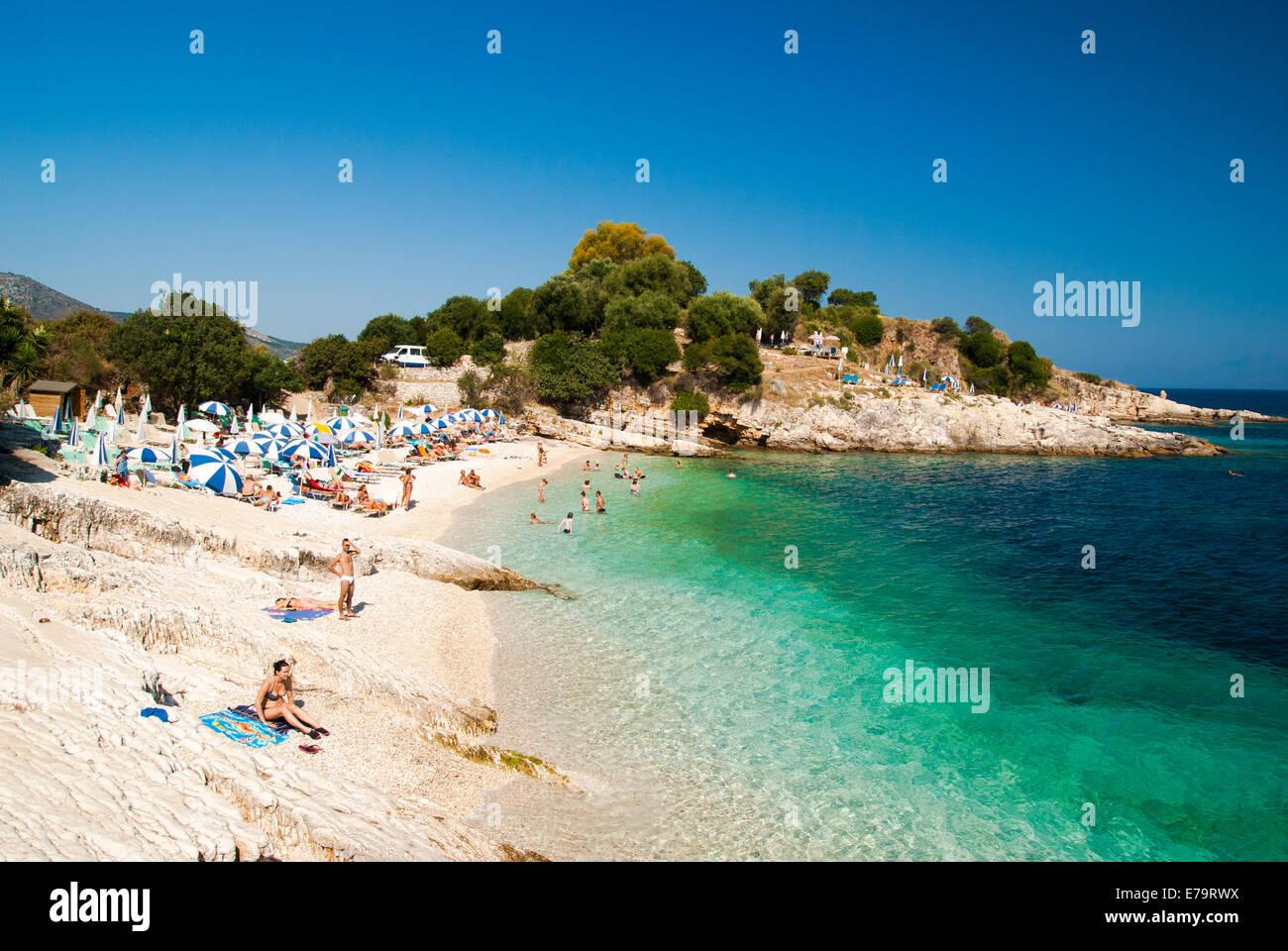 Kassiopi Beach Corfu Island Ionian Sea Greece Stock