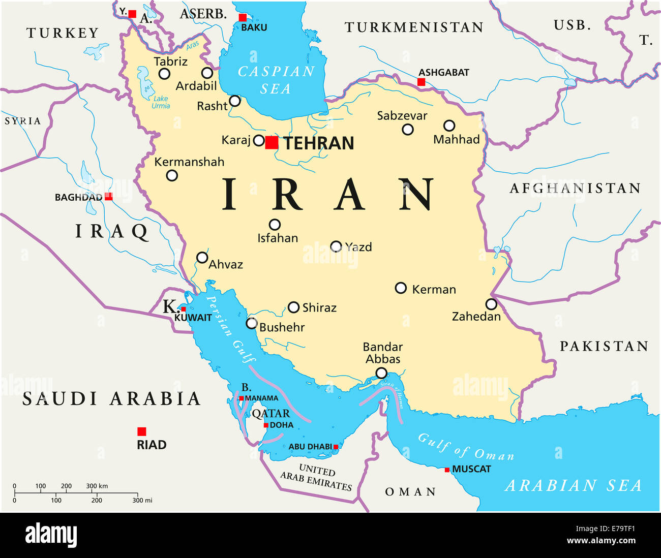 Iran Political Map with capital Tehran national borders most Stock