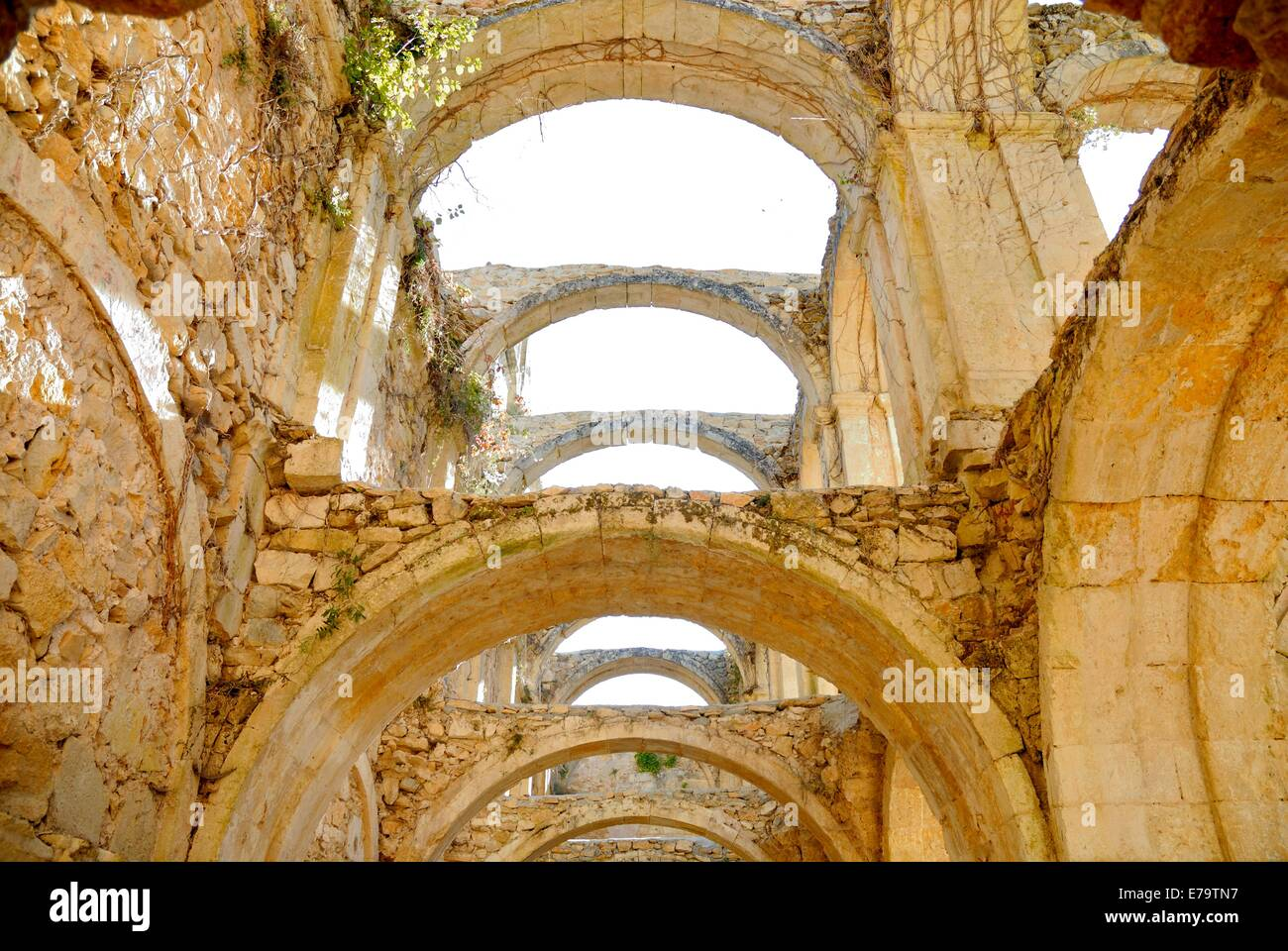 monastery rio seco spain, monastery that is rebuilding and recovering from a state of neglect - Stock Image