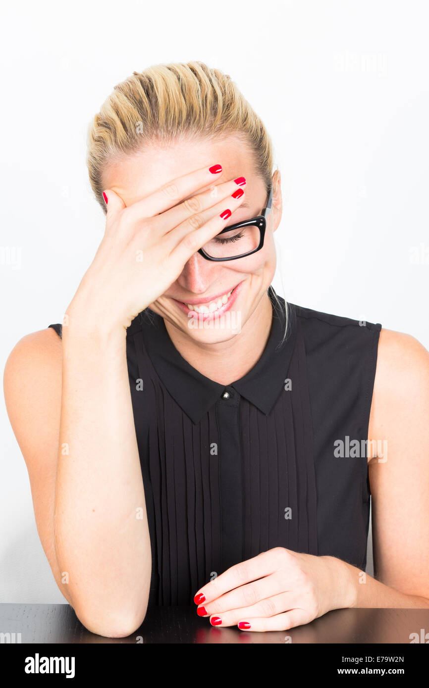 Relaxed business woman portrait - Stock Image