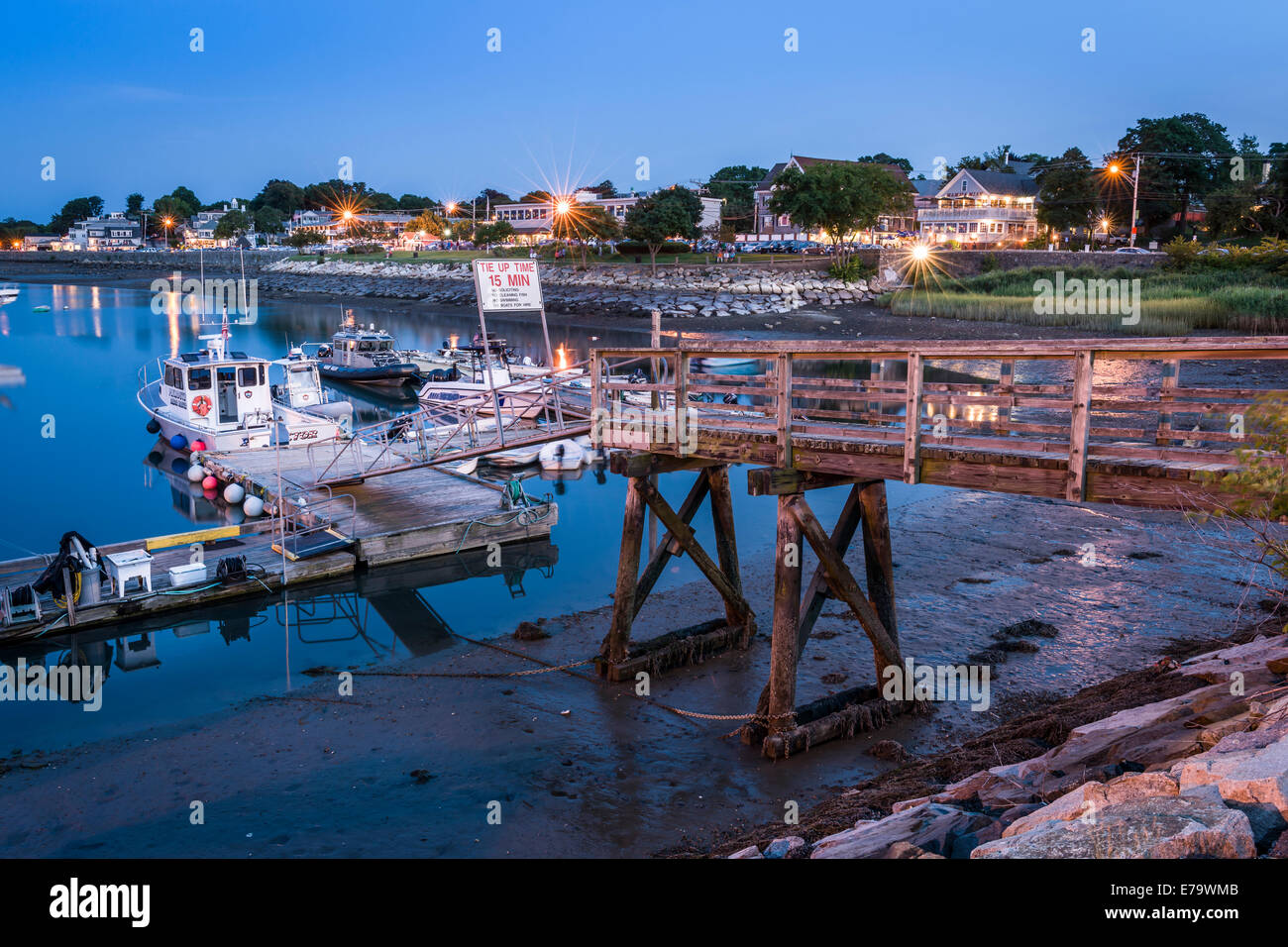 A pontoon leads to the small harbour on the seafront in Plymouth, Massachusetts - USA. - Stock Image