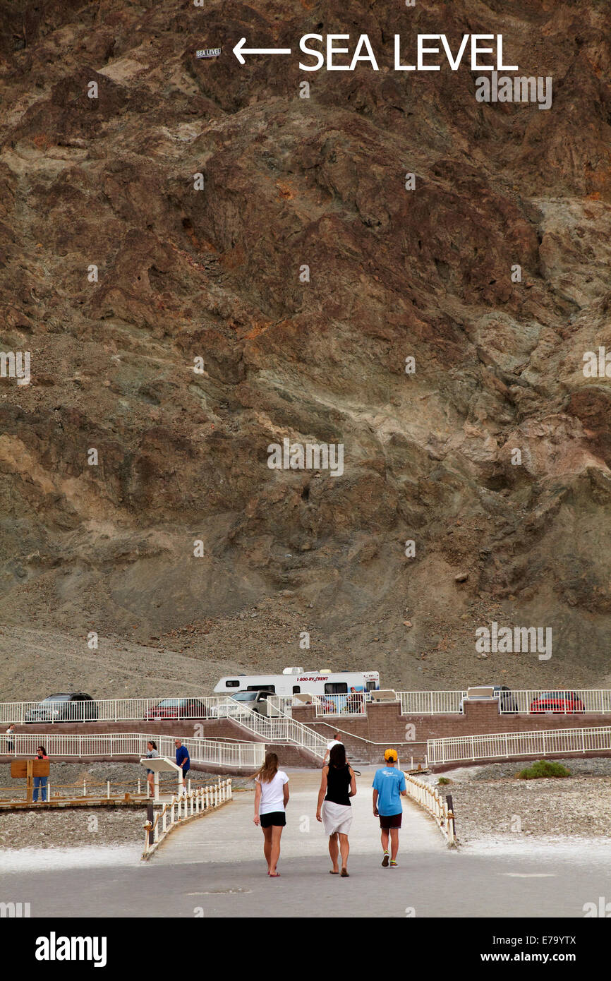 Tourists at Badwater Basin, 282 ft (86 m) below sea level (lowest land in North America), Death Valley National - Stock Image