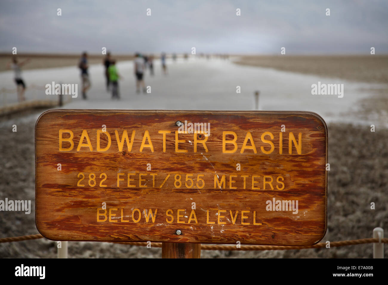 Sign for Badwater Basin, 282 ft (86 m) below sea level (lowest land in North America), Death Valley National Park, - Stock Image