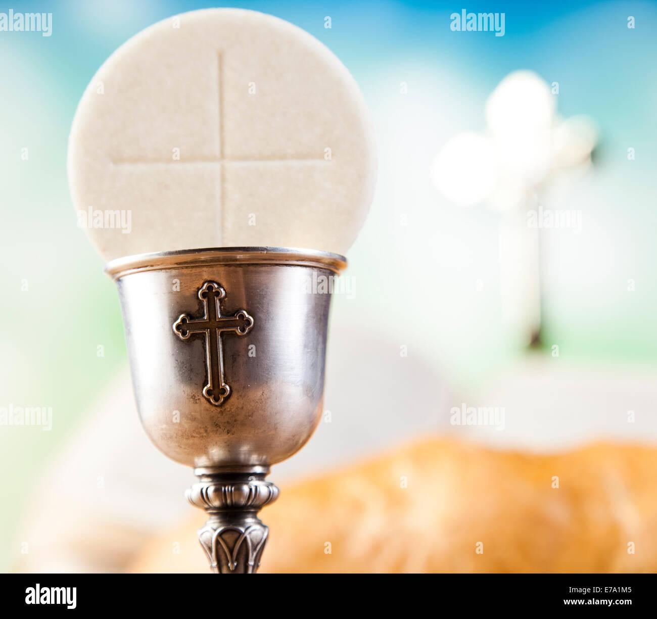 Holy Communion Bread Wine Stock Photo 73364933 Alamy