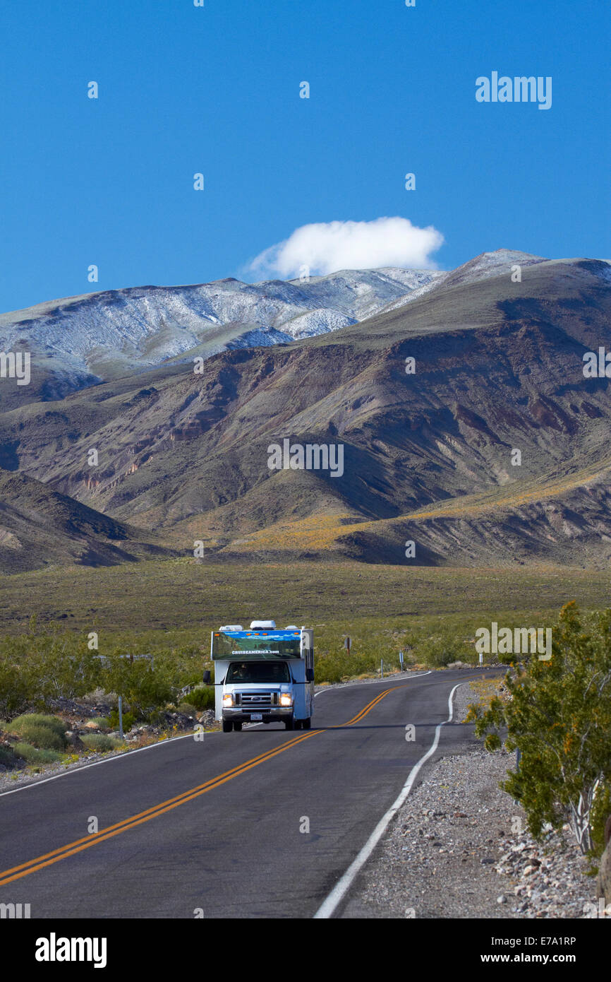 RV on road coming over Panamint Range into Death Valley, Death Valley National Park, Mojave Desert, California, - Stock Image