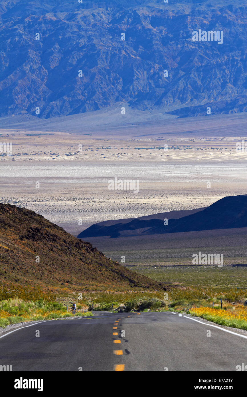 State Route 190 climbing up from Death Valley over Panamint Range, Death Valley National Park, Mojave Desert, California, Stock Photo