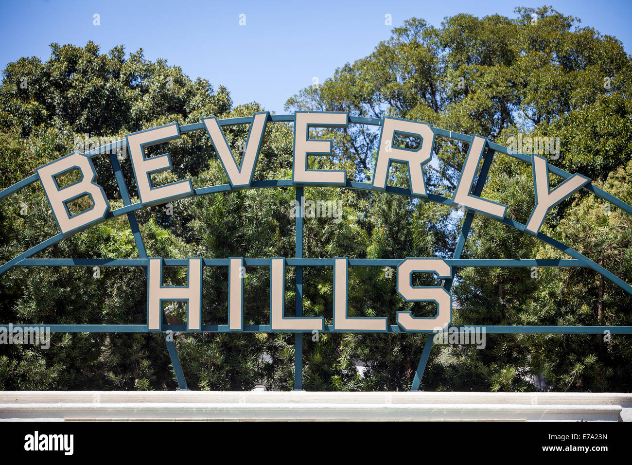 The Beverly Hills sign. - Stock Image