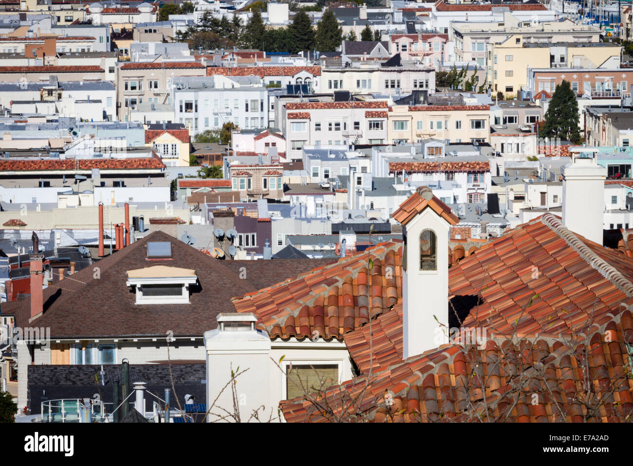 Houses with Spanish tile roofs on hillside in Marina district of San Francisco, California - Stock Image