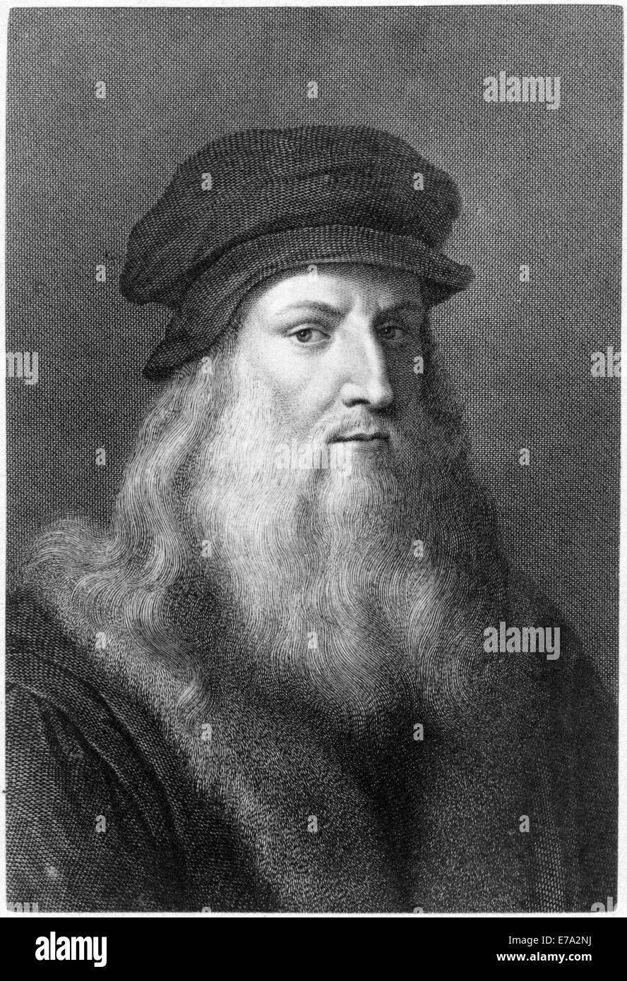 Leonardo da Vinci (1452-1519), Italian Painter, Sculptor, Architect, Engineer & Scientist, Portrait, Engraving - Stock Image