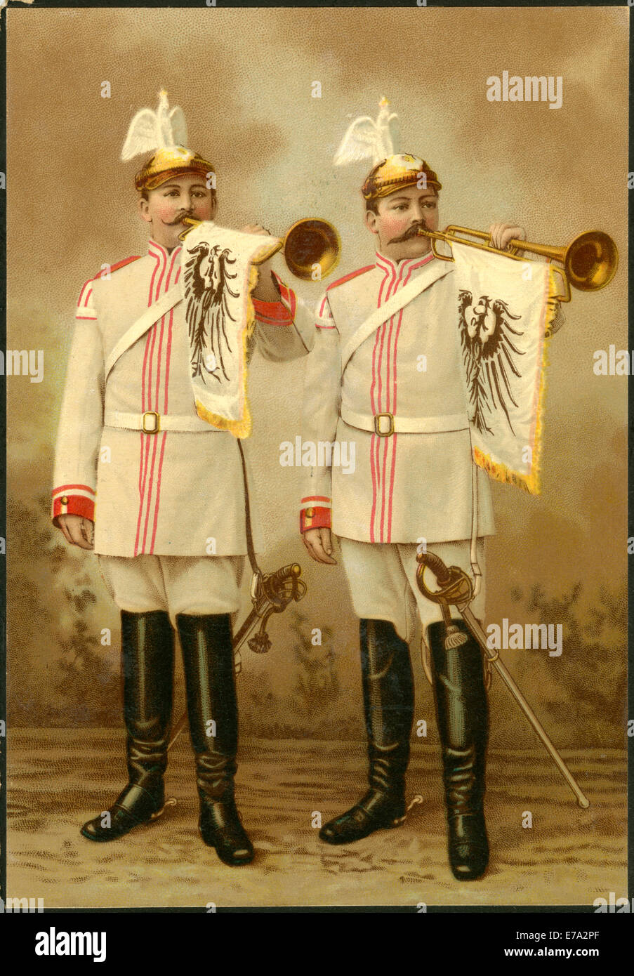 German Military Trumpeters During World War I, 'German Village Band', Chromolithograph, circa 1917 - Stock Image
